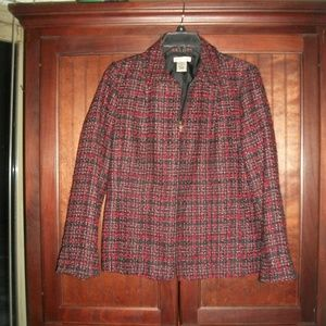 Laura Ashley tweedy plaid blazer size S